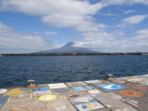 Horta harbor and Pico mountain Royalty Free Stock Images