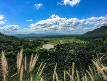 Hortaliças da montanha sob o céu azul com nuvens Fotografia de Stock