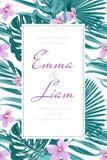 Hortaliças tropicais exóticas do cartão do convite do casamento Imagem de Stock