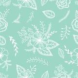 Hortelã e teste padrão sem emenda branco com anêmonas, rosas e folhas em uma cor da hortelã Imagem de Stock Royalty Free