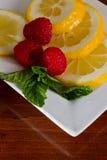 Hortelã orgânica fresca, limão, framboesa Imagem de Stock Royalty Free
