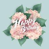 Hortensia avec le lettrage de joyeux anniversaire Images libres de droits