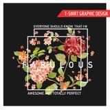 Hortensia Card Graphic Design floral - para la camiseta, moda Fotografía de archivo