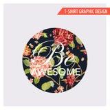 Hortensia Card Graphic Design floral - para la camiseta, moda Imagen de archivo libre de regalías