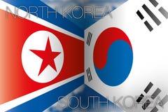 Horth Korea versus de vlaggen van Zuid-Korea Stock Afbeeldingen