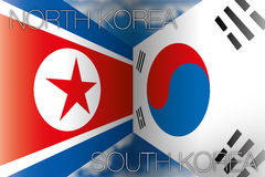 Horth korea vs south korea flags. Original graphic photo shot female eye Stock Images