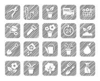 Horticultura, floricultura, horticultura, iconos monocromáticos, vector, tramado Imagen de archivo libre de regalías