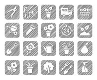 Horticulture, floriculture, horticulture, monochrome icons, vector, hatched. Drawings of garden tools and gardening goods. Hatch grey pencil simulation Royalty Free Stock Image