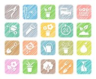Horticulture, floriculture, vegetable growing, colored icons, vector, hatched. Drawings of garden tools and gardening goods. Hatching with colored pencil Royalty Free Stock Image