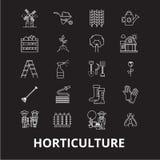 Horticulture ikon editable kreskowy wektorowy ustawiający na czarnym tle Horticulture konturu białe ilustracje, znaki royalty ilustracja