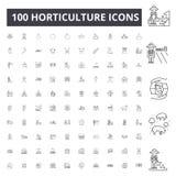Horticulture kreskowe ikony, znaki, wektoru set, kontur ilustracji poj?cie royalty ilustracja