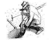 Horticulture vintage illustration, farmer works with hammer and Royalty Free Stock Images