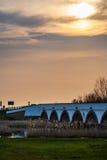 The Hortobagy Bridge, Hungary, World Heritage Site by UNESCO. The Hortobagy Bridge at sunset, Hungary, World Heritage Site by UNESCO Stock Photography