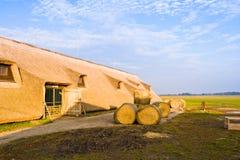 HORTOBAGY, HUNGARY - OCTOBER 31, 2015: Farm buildings in Masai Menes. Hortobagy National Park, Hungary. HORTOBAGY, HUNGARY - OCTOBER 31, 2015: Farm buildings in Royalty Free Stock Images