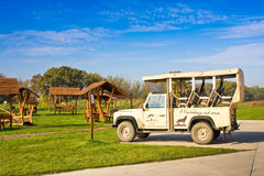 HORTOBAGY, HUNGARY - OCTOBER 31, 2015: Safari car in Hortobagy National Park, Hungary. It is Unesco World Heritage site since 1999. The Whole area is Natura Stock Photography