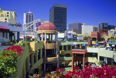 Horton Plaza, San Diego. The Horton Plaza shopping center is a large outdoor multi-level shopping mall in downtown San Diego, California royalty free stock photography