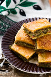 Hortopita. the Greek snack pie with a swiss chard  and feta. Stock Photography
