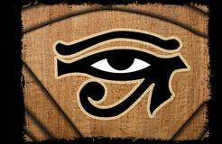 horus葡萄酒的美丽的眼睛在纸莎草的 库存图片
