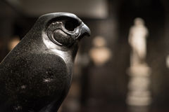 Horus as a Hawk Statue. Horus as a Hawk, lord of the sky, made out of Basalt from Egypt stock images