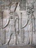 Horus e Hathor, tempiale di Kom Ombo, Egitto Fotografia Stock