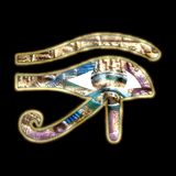 Horus eye vintages golden relief Royalty Free Stock Image