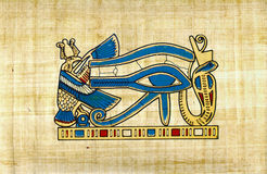 Egyptian papyrus, Eye of Horus symbol old paper. Eye of Horus (wadjet or Eye of Ra), used in ancient Egypt as a sign of healing and protection, on a piece of royalty free stock photos