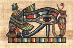 Horus forntida öga på papyruspapper stock illustrationer