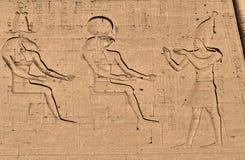 Horus god hieroglyph. At Edfu Temple Stock Photography
