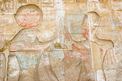 Horus, Ramses and Tree of Life. An ancient egyptian hieroglyphic carving showing the falcon headed god Horus with the Pharoah Ramses II before the sacred tree of royalty free stock photography