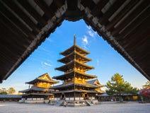 Horyu-ji tempel i Nara, Japan Fotografering för Bildbyråer