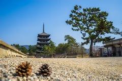 Horyu-ji tempel i Nara, Japan Royaltyfri Fotografi