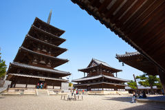 Horyuji West yard. Horyuji, the world's oldest wooden structure, the world's cultural heritage。Was built in 607 years. Nara, Japan Stock Photo