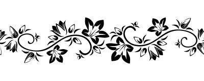 Horyzontalna bezszwowa winieta z kwiatami. ilustracja wektor