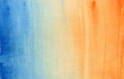 Horyzontalna gradientowa błękitna i pomarańczowa akwarela obraz royalty free