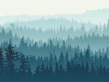 Horyzontalna ilustracja błękitny iglasty las Fotografia Royalty Free