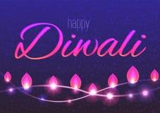 Horyzontalna karta dekorujący tło dla Diwali z lekkimi girlandami Ilustracji