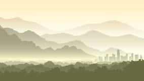 Horyzontalna kreskówki ilustracja mgliści lasowi wzgórza z miastem royalty ilustracja