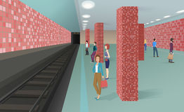 Horyzontalna wektorowa ilustracja ludzie stoi w metrze i czeka pociąg Zdjęcia Royalty Free
