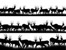Horyzontalne sztandar sylwetki stado antylopa w afrykaninie sav ilustracja wektor