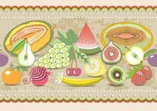 Horyzontalnego bezszwowego wzoru ustalona owoc z realistycznym cieniem z barwionym ornamentem ilustracja Zdjęcia Royalty Free