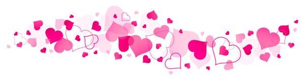 Horyzontalnego sztandaru Duzi I Mali Różowi serca royalty ilustracja