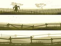 Horyzontalnego wektorowego sztandaru rolni pola z ogrodzeniem. Obrazy Stock