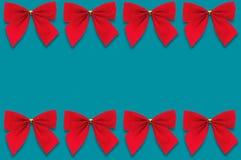 Horyzontalni rzędy czerwoni tekstylni łęki na błękitnym tle ilustracja wektor