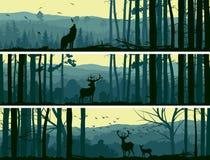 Horyzontalni sztandary dzikie zwierzęta w wzgórzach drewnianych.
