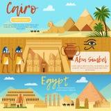 Horyzontalni sztandary Egypt krajobraz Wektorowi obrazki ustawiający w kreskówka stylu royalty ilustracja