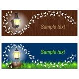 Horyzontalni sztandary Ustawiający z lampionami i motylami Fotografia Stock