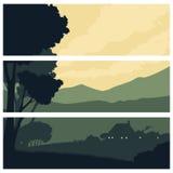 Horyzontalni sztandary z sylwetka wiejskim krajobrazem Zdjęcia Royalty Free