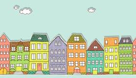 Horyzontalny bezszwowy doodle domów wzór Zdjęcia Royalty Free