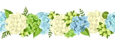 Horyzontalny bezszwowy tło z błękitnymi i białymi kwiatami również zwrócić corel ilustracji wektora ilustracji