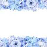 Horyzontalny bezszwowy tło z błękitnymi kwiatami również zwrócić corel ilustracji wektora royalty ilustracja